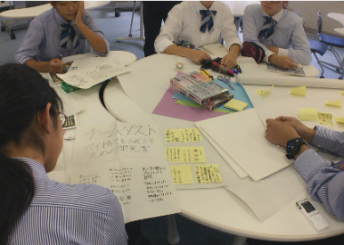 Students in Fukusho High School worked in groups to identify SDGs related problem in their community and conceptualized solutions.